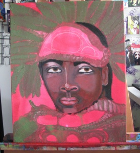 Mardi Gras Indian roughed out, day 1