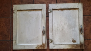 Cabinet doors prior to sanding.