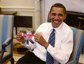 President Obama with another Flat Stanley