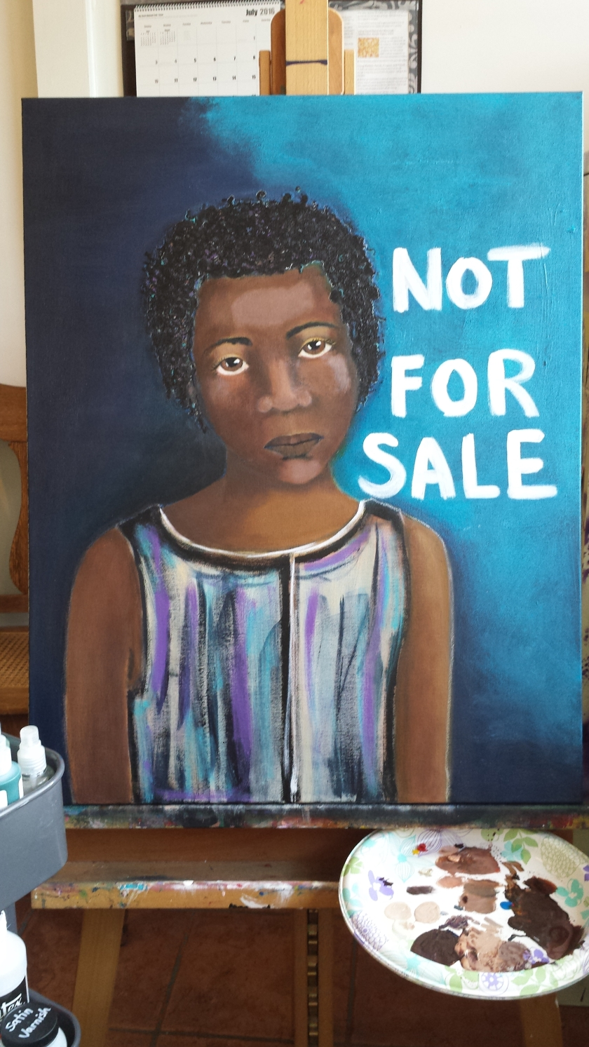 NOT FOR SALE is the name of the painting. The painting is for sale. :)